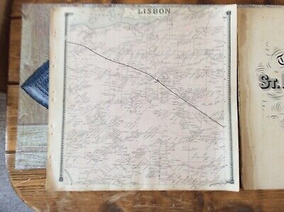 Lisbon NY Authentic Map  Disbound From 1865 Topographical Atlas By SN & DG Beers