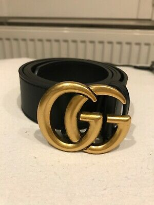 Gucci belt Double G Logo Black Leather Genuine Real Authentic 26-34 Waist