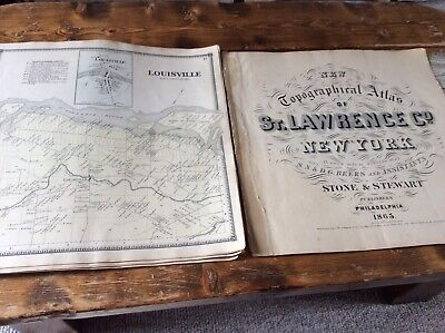 Louisville NY Authentic Map  Disbound From 1865 Topographical Atlas  S & D Beers