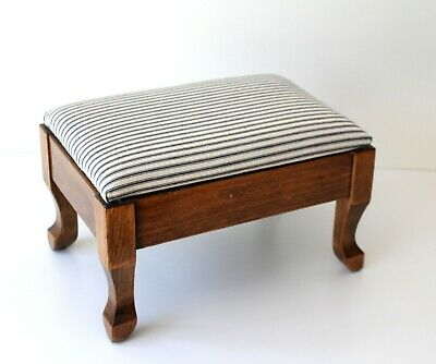 antique / vintage wooden footstool with ticking fabric upholstery