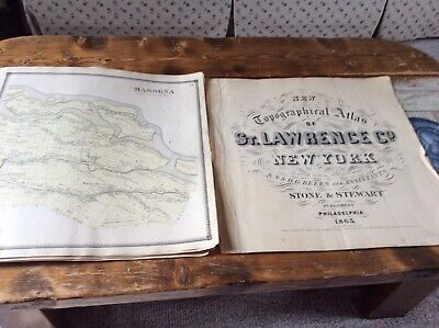 MASSENA NY Authentic Map  Disbound From 1865 Topographical Atlas  S & D Beers