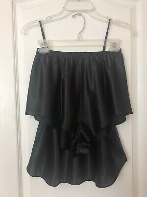 Vintage Lucie Ann II Black Shorts Cami Set Size Large Panties 90s High Leg