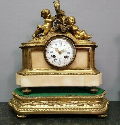 Antique French Henry Marc Table Clock with Brass Figurines and Bell Strike