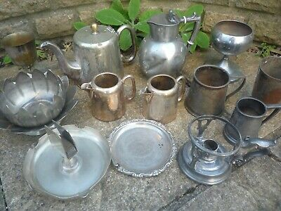 Job Lot Antique Silver Plated Tankards Teapot Hot Water Jugs Candlestick Goblets