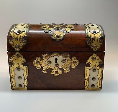 Ornate Antique English Wood Veneer Double Tea Caddy Box - Brass & French Ivory