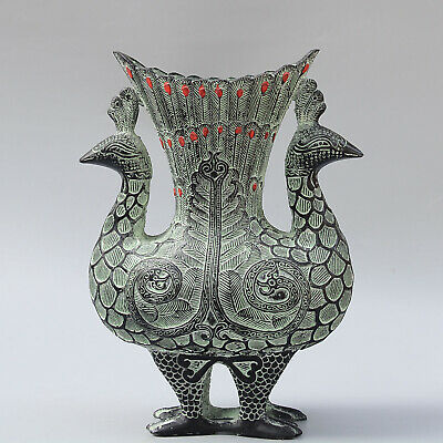Collectable China Old Bronze Hand-Carved Elegant Double Peacock Delicate Vase