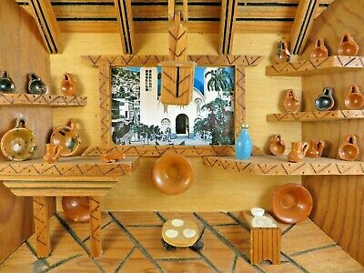 Diorama 3D Shadow Box Mexican Kitchen Scene Pottery Shop? Wood Wall Art #13