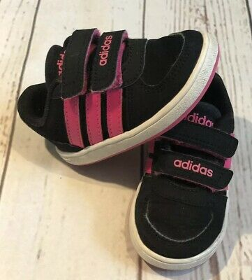 Baby Girls Adidas Size 3 UK Black/Pink  Trainers Infant Shoes  VGC!