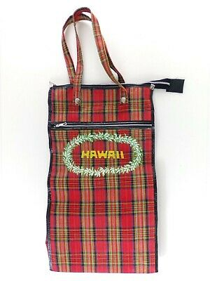 Vintage Hawaii Bag Tall Hawaii Rolling Tote Plaid Laundry Bag Wheeled Zippered