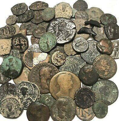 Nice Lot Of 60+ Ancient Roman + Greek, Medieval + Byzantine Coins.( 380 grams )