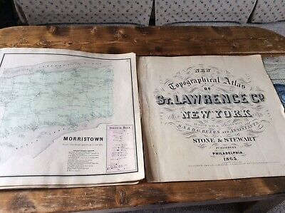 MORRISTOWN NY Authentic Map  Disbound From 1865 Topographical Atlas  S & D Beers