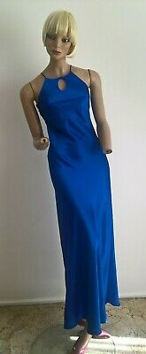 Vintage 90's Royal Blue fitted & flowing full length formal dress Size XXS/6
