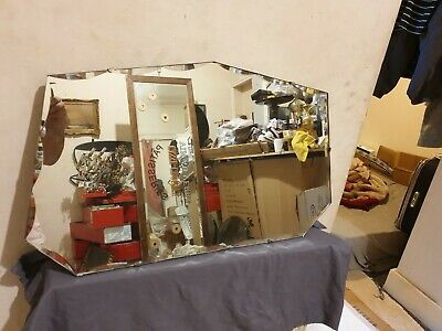 Lovely Original 1930s Art Deco Bevelled Glass Wall Mirror Solid Wooden Backed