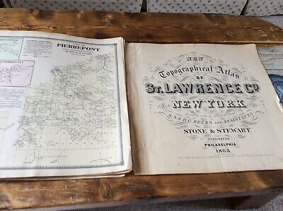 PIERREPONT NY Authentic Map  Disbound From 1865 Topographical Atlas  S & D Beers