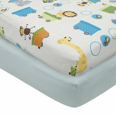 Bedtime Originals Choo Choo Animal Train 2-Pack Baby Fitted Crib Sheets