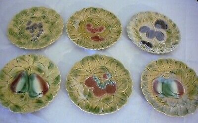VINTAGE SET of 6 MAJOLICA FRUIT PLATES - MADE in FRANCE
