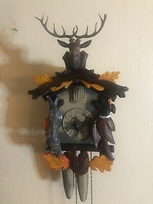 "VINTAGE BEAUTIFUL ""After The Hunt"" BLACK FOREST CUCKOO CLOCK HAGOS HRASTNIG"