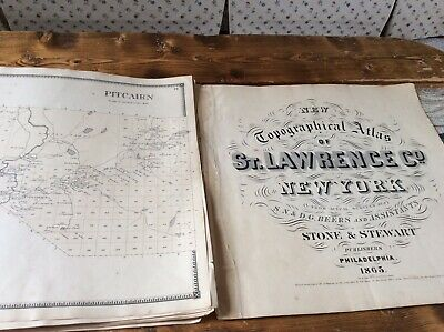 PITCAIRN NY Authentic Map  Disbound From 1865 Topographical Atlas  S & D Beers