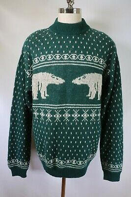 D2575 VTG UNITED COLORS OF BENETTON Shetland Wool Polar Bear Sweater ITALY