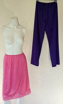 Lot of 2 VANITY FAIR Vtg 80s Pink Half Slip& Purple Pants Antron Nylon Sz Small