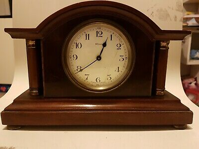 French antique mantel clock mahogany case timepiece 8 days lever movement inlay