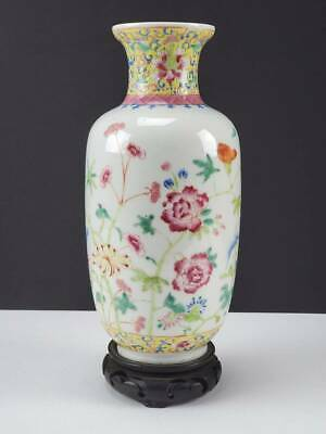 Antique Chinese Famille Rose Porcelain Vase Hand Painted Enamels Flowers
