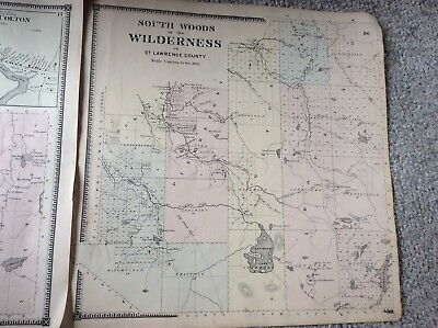 WILDERNESS Authentic Map  Disbound From 1865 Topographical Atlas  S & D Beers