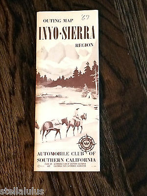 1967 Vintage Auto Club of Southern California Map of Inyo Sierra Region