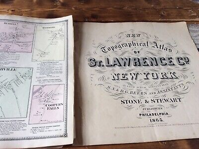 MORRISTOWN  RICHVILLE ETC ETCDisbound From 1865 Topographical Atlas  S & D Beers