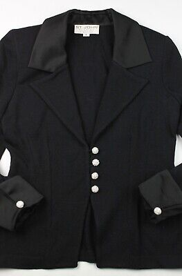 St. John Evening Collection Black Santana Knit Satin Rhinestone Button Blazer 6