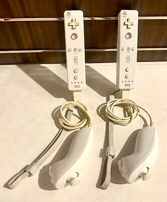 Official Nintendo Wii Remote Controller RVL-003 & Nunchuck Tested OEM Qty (2)
