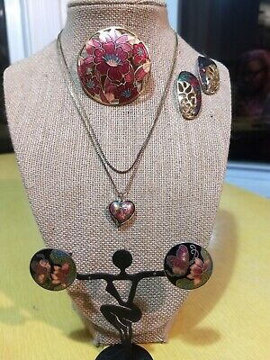 Vtg Red Maroon Cloisonne Jewelry Lot Chinese Pin Necklace .925 Earrings Enamel