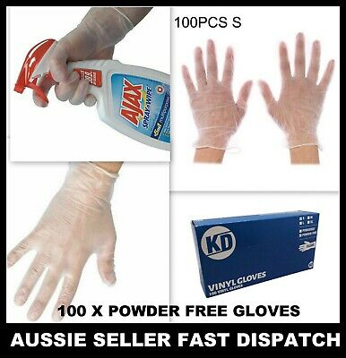 100x Clear Vinyl Disposable Gloves Powder Free Medical Rubber Free Protective AU