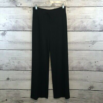 Norma Kamali High Rise Wide Leg Pants Womens XS Black Jersey Palazzo Drawstring