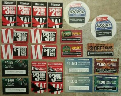 SAVE $46.50 Coupons Copenhagen Winston Grizzly Camel Snus Skoal Marlboro Tobacco