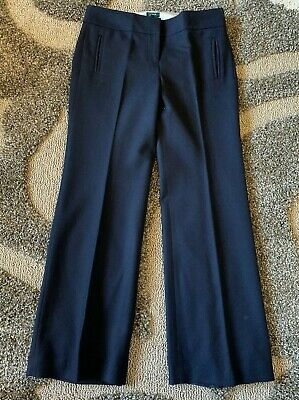J Crew Favorite Fit 100% Wool Navy Straight Wide Trousers Size 8 Polyester Lined