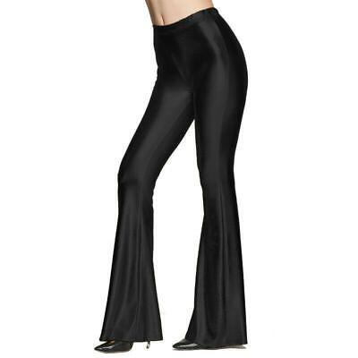 70's Disco Women Lady Shiny Bell-bottoms Flare Leggings Pants Trousers Black 2XL