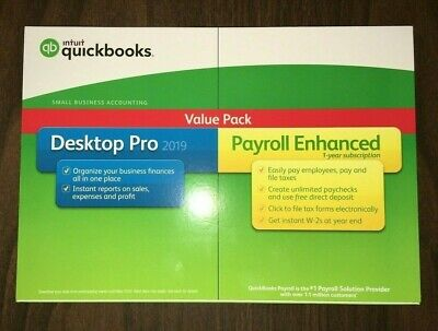 Intuit QuickBooks Desktop Pro 2019 With Payroll Enhanced (Disk and Download) NEW