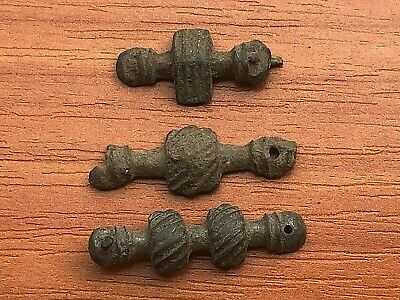 Lot of 3 Ancient Roman Bronze Belt Mounts Circa 200-300 AD Very Rare