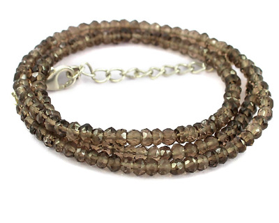 Natural Smoky Quartz Gemstone 3-4mm Faceted Rondelle Beads Jewelry Long Necklace
