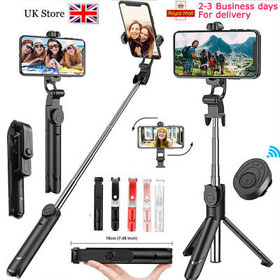360° Extendable Selfie Stick Wireless Bluetooth Remote Tripod For iOS Android