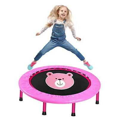 LBLA 38-Inch Kids Trampoline, Mini Trampoline for Kids with Safety Padded pink