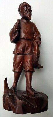 Chinese antique wooden carved figure of a fisherman