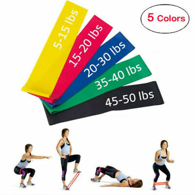 Set of 5 Resistance Loop Bands Yoga Cross fit Fitness Pilates Exercise Workout