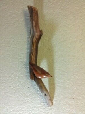Vintage hand carved bird sculpture on cedar branch,folk art wall sculpture
