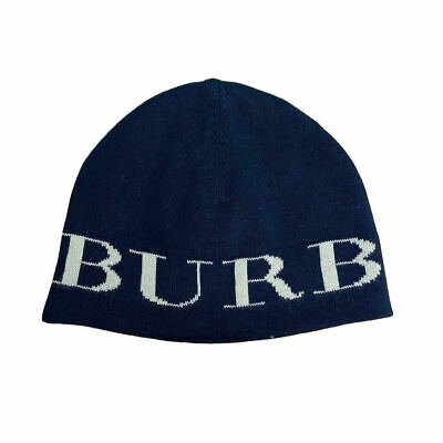 Burberry Kids Childrens Unisex Navy Pull On Designer Cashmere Knit Logo Beanie H