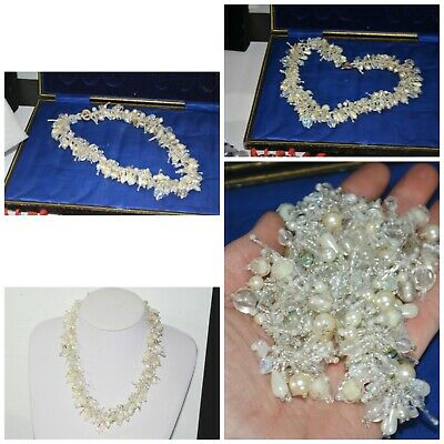 Vintage Art Deco Style Pearl & Crystal Glass Bead Necklace