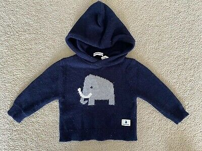 Country Road Baby Boy Elephant Hooded Jumper 00 3-6months