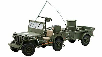 AUTOart 1/18 Jeep Willys Army Green trailer accessories included cars F/S