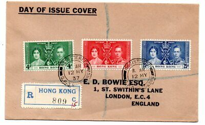 Hong Kong 1937 Coronation Set On Registered F D  Cover